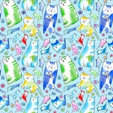 Seamless pattern of a cat, bird, mouse, flower and paw. Watercolor hand drawn illustration.Blue background Stock Images