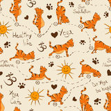 Seamless pattern with cat doing yoga position of Surya Namaskara. vector illustration
