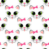Seamless pattern with cat face. Cute white kitten with pink bow. Girlish background with kitty. Vector illustration Stock Images