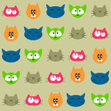 Seamless pattern with cat faces Stock Images