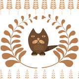 Seamless pattern cat in the fairy forest. Vector seamless pattern cat in the fairy forest Royalty Free Stock Image