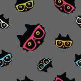Seamless pattern with cat in hipster glasses Stock Photos