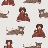 Seamless pattern with cat and kitten, dog and puppy. Backdrop with mother and baby pet animals. Cute cartoon characters royalty free illustration