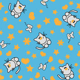 Seamless pattern with cat and mouse Stock Photography