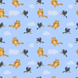 Seamless pattern with cat, mouse and crow Stock Photography