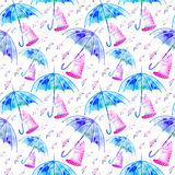 Seamless pattern with cat, mouse and umbrella. Royalty Free Stock Image