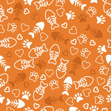 Seamless pattern with cat paw prints, fish bone and hearts. Oran. Ge background. Vector illustration Stock Photos