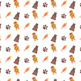 Seamless pattern with cat. Seamless pattern with cat paws and fish Stock Photography
