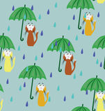 Seamless pattern with cat & rain Royalty Free Stock Image
