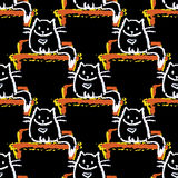 Seamless pattern of cat sitting on a bench on a black background Royalty Free Stock Photo