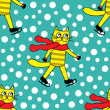 Seamless pattern with cat on skates Stock Photography