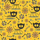 Seamless pattern with cat skeletons Royalty Free Stock Images