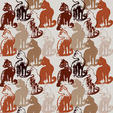 Seamless pattern with cat stamps. Royalty Free Stock Photos