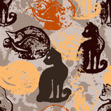Seamless pattern with cat stamps. Royalty Free Stock Photo