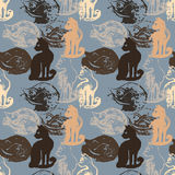 Seamless pattern with cat stamps. Stock Images