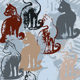Seamless pattern with cat stamps. Stock Image