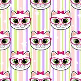 Seamless pattern with cat and stars Stock Photography