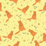 Seamless pattern with cat for wallpaper, scrapbook and other design. Royalty Free Stock Images