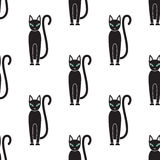 Seamless pattern. Cat on a white background. Black cat on a white background stock illustration