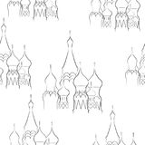Seamless pattern from cathedrals on a white background. Vector illustration Stock Images