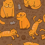 Seamless pattern with cats. Vector seamless pattern with cats in different poses Stock Photos