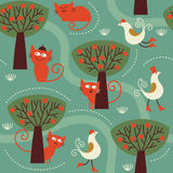 Seamless pattern with cats. Children design Stock Photo