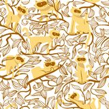 Seamless pattern with cats. Background with funny domestic kitty. On the tree branches. Vector illustration for design elements, backdrops, wallpapers and stock illustration