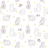 Seamless pattern cats Stock Photo