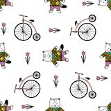 Seamless pattern with cats, bikes and candies. stock illustration