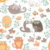 Seamless pattern with cats and birds Royalty Free Stock Images