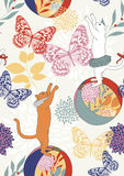 Seamless Pattern with Cats and Butterflies vector illustration