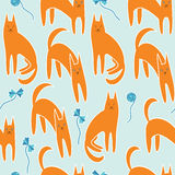 Seamless pattern with cats Stock Photography