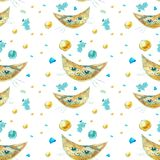 Seamless pattern with cats. Cat like a moon. stock illustration