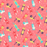 Seamless pattern with cats celebrating birthday Royalty Free Stock Images