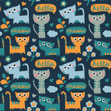Seamless pattern with cats, cloud, hello and meow Royalty Free Stock Images