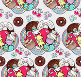 Seamless pattern with cats and cupcakes Royalty Free Stock Photography