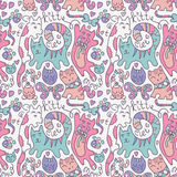 Seamless pattern with cats. Seamless pattern with cute cats vector illustration