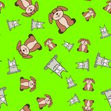 Seamless pattern of cats and dogs in in cartoon style royalty free illustration