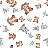 Seamless pattern of cats and dogs in in cartoon style vector illustration