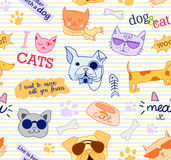 Seamless pattern with cats and dogs. Funy, beautiful, cute. Vector. Stock Image