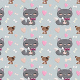 Seamless pattern with cats and dogs Royalty Free Stock Photo