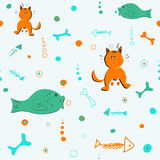 Seamless pattern with cats, fish and bones. Vector Royalty Free Stock Images