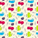 Seamless pattern with cats and fish bones Royalty Free Stock Photo