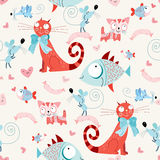 Seamless pattern of the cats and fish with mice. Texture of the reds of funny cats, and blue fish with mice in the air on a white background Royalty Free Stock Photo
