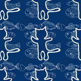Seamless pattern of the cats and fish vector Stock Images