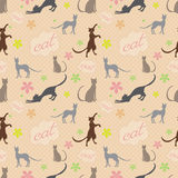 Seamless pattern with cats and a flower Stock Images