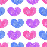 Seamless pattern with cats and hearts Stock Photo