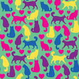 Seamless pattern with cats and hearts. Bright texture with cats and hearts , Love animal seamless pattern, vector silhouette Royalty Free Stock Images