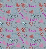 Seamless pattern with cats and hearts illustration Stock Photos