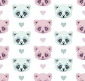 Seamless pattern cats and hearts, pink and mint pastel color. Royalty Free Stock Images